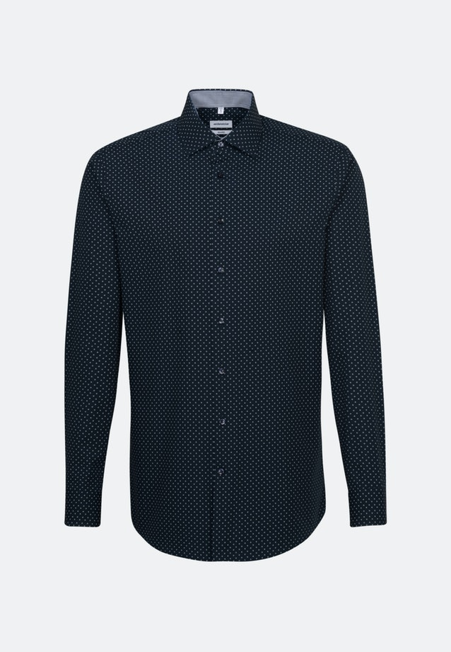 Easy-iron Poplin Business Shirt in Shaped with Kent-Collar and extra long sleeve in Dark blue |  Seidensticker Onlineshop