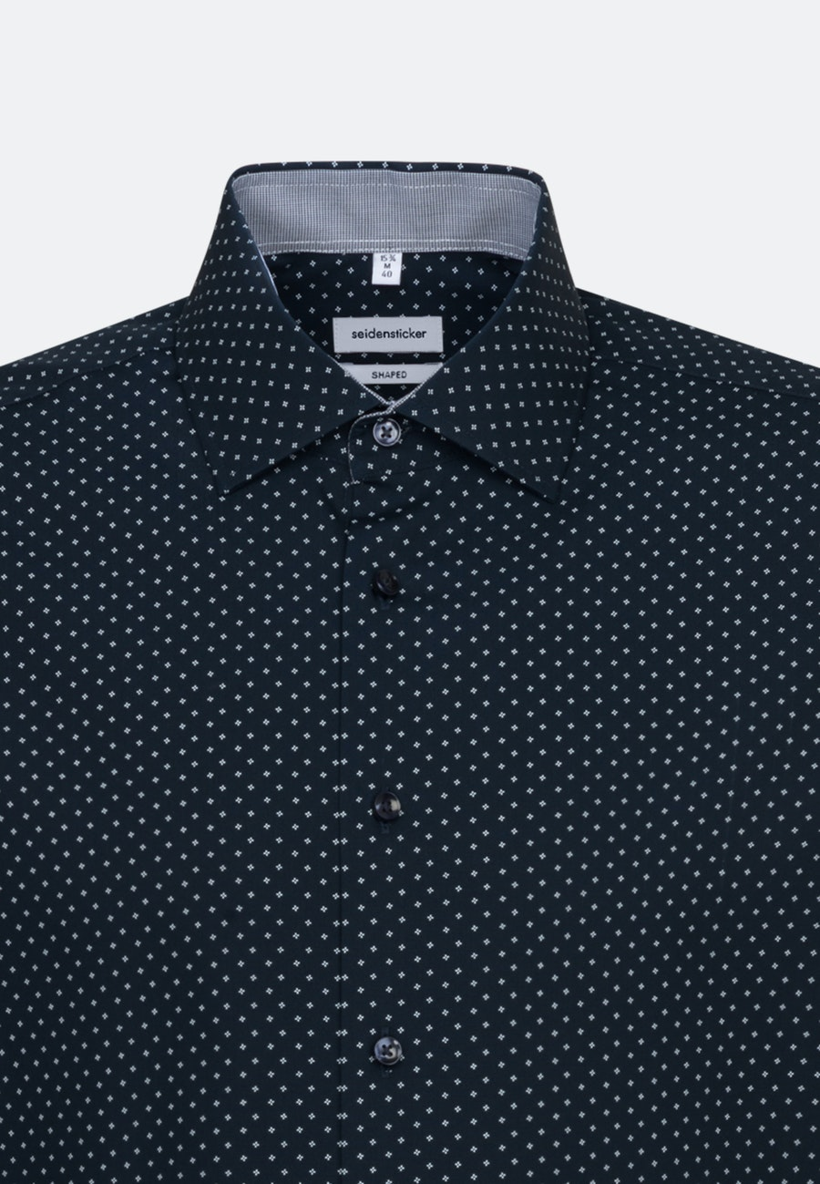 Easy-iron Popeline Business Shirt in Shaped with Kent-Collar and extra long sleeve in Dark blue |  Seidensticker Onlineshop