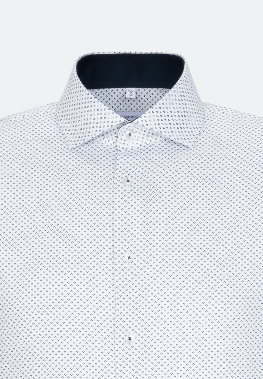 Bügelleichtes Twill Business Hemd in Shaped mit Kentkragen und extra langem Arm in Dunkelblau |  Seidensticker Onlineshop