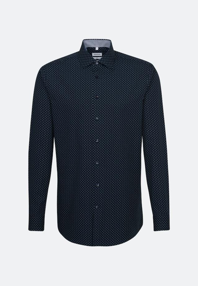 Bügelleichtes Popeline Business Hemd in Slim mit Kentkragen und extra langem Arm in Dunkelblau    Seidensticker Onlineshop