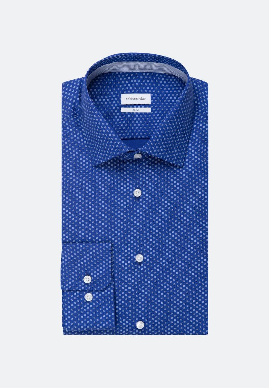 Easy-iron Popeline Business Shirt in Slim with Kent-Collar in Medium blue    Seidensticker Onlineshop