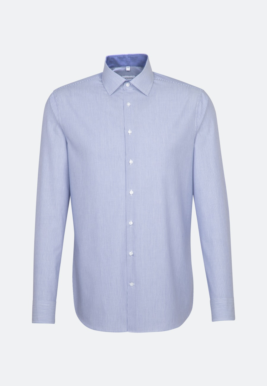 Non-iron Popeline Business Shirt in Shaped with Kent-Collar in Medium blue    Seidensticker Onlineshop