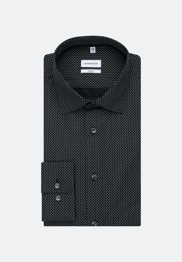 Bügelleichtes Popeline Business Hemd in X-Slim mit Kentkragen und extra langem Arm in Schwarz |  Seidensticker Onlineshop