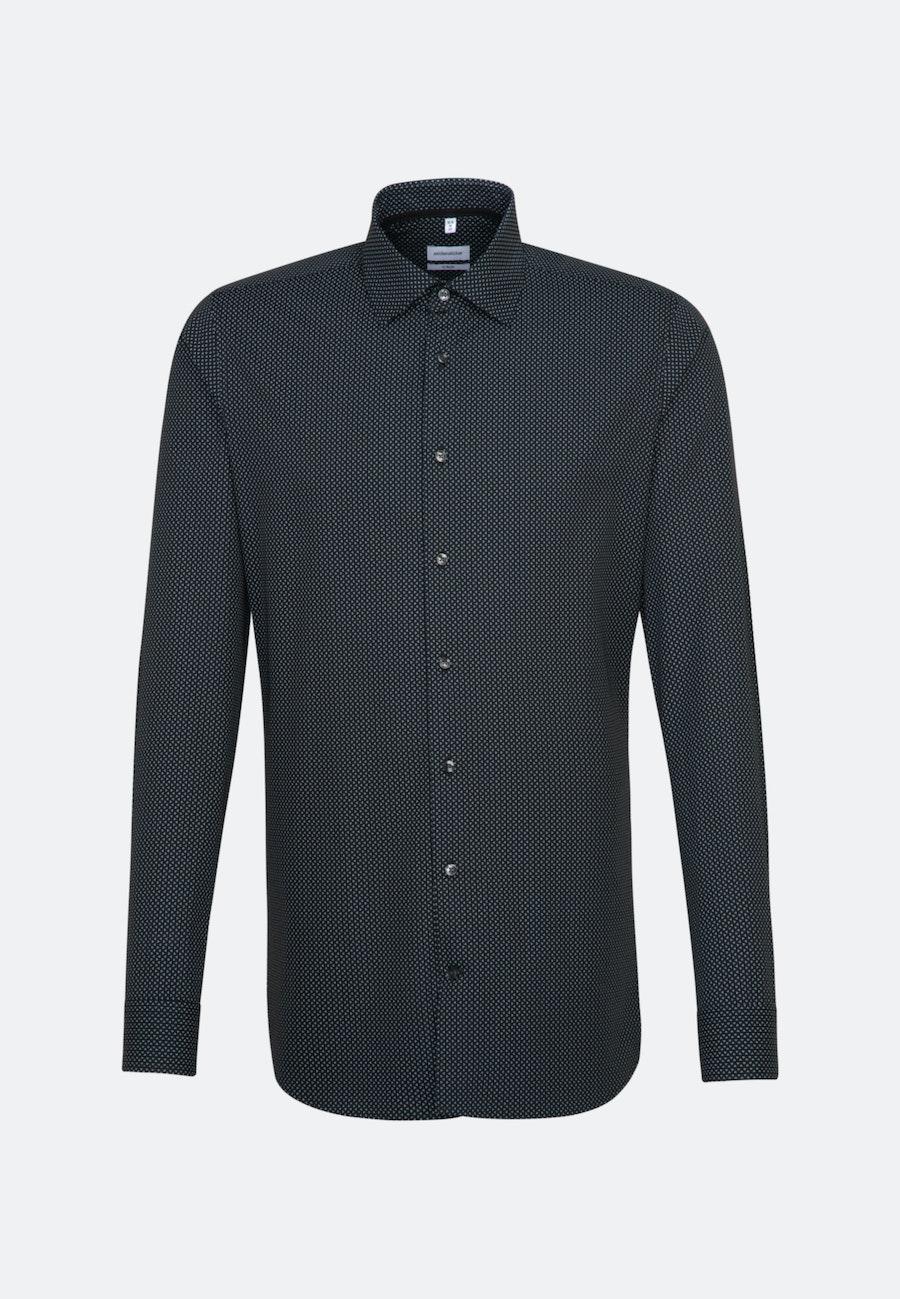 Bügelleichtes Popeline Business Hemd in X-Slim mit Kentkragen und extra langem Arm in Schwarz    Seidensticker Onlineshop