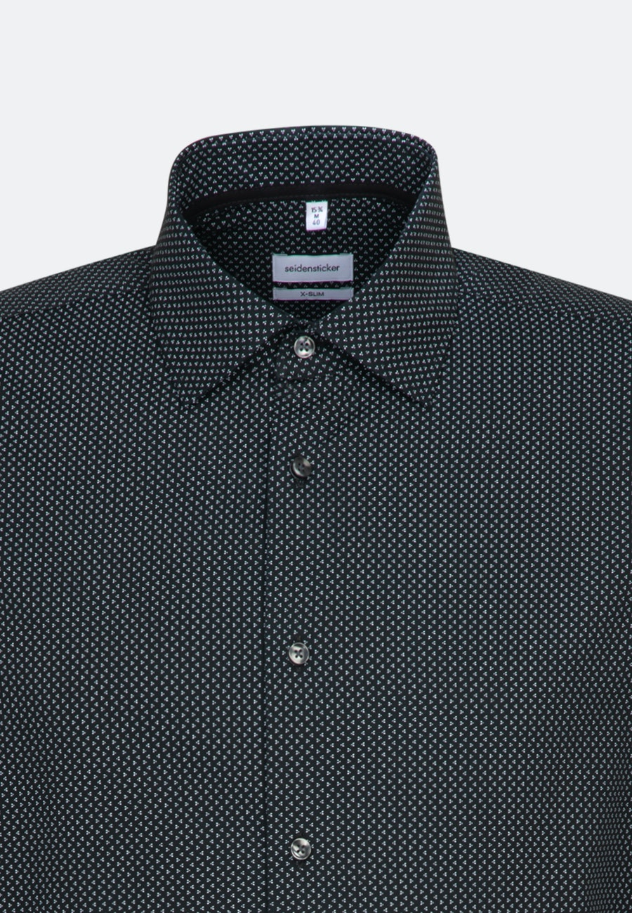 Easy-iron Popeline Business Shirt in X-Slim with Kent-Collar and extra long sleeve in Black |  Seidensticker Onlineshop