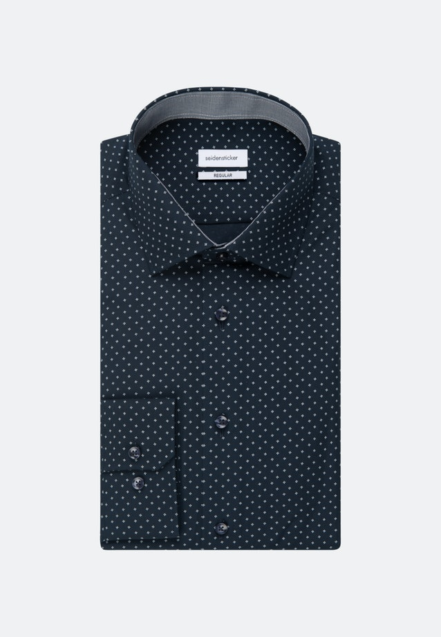 Easy-iron Poplin Business Shirt in Regular with Kent-Collar and extra long sleeve in Dark blue |  Seidensticker Onlineshop