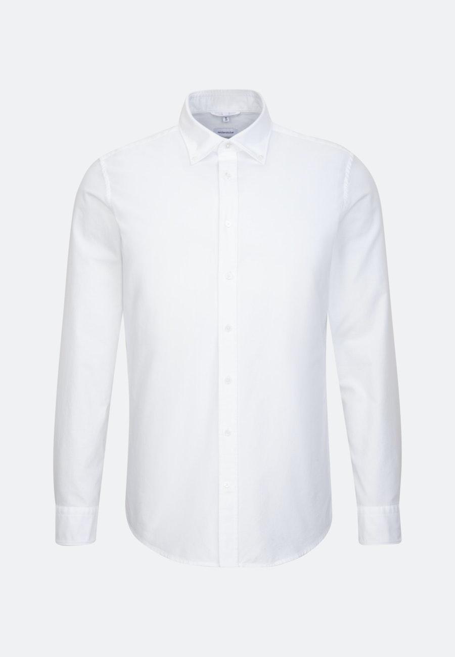Bügelleichtes Oxford Business Hemd in X-Slim mit Button-Down-Kragen und extra langem Arm in Weiß |  Seidensticker Onlineshop