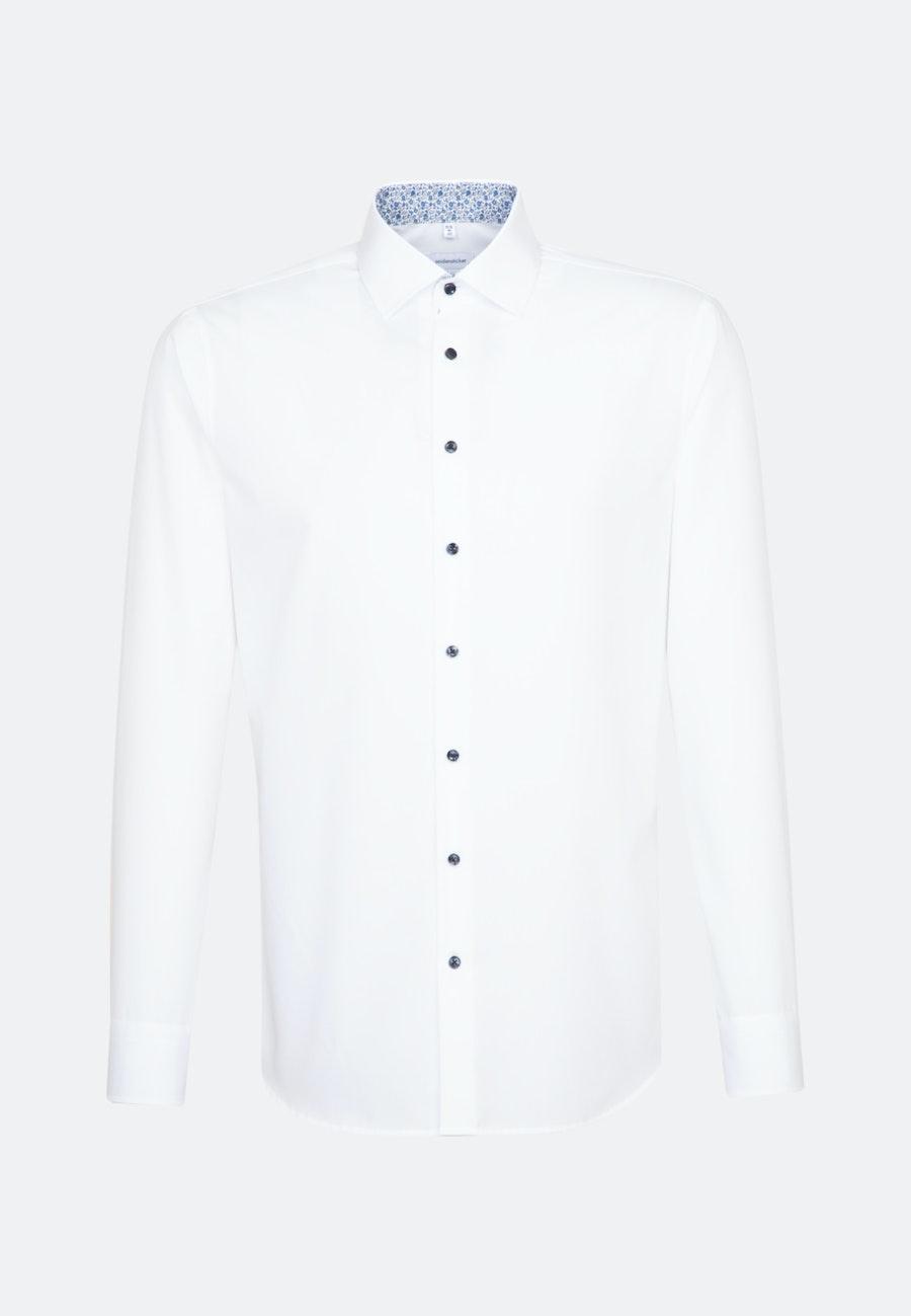 Bügelfreies Popeline Business Hemd in Slim mit Kentkragen und extra langem Arm in Weiß    Seidensticker Onlineshop
