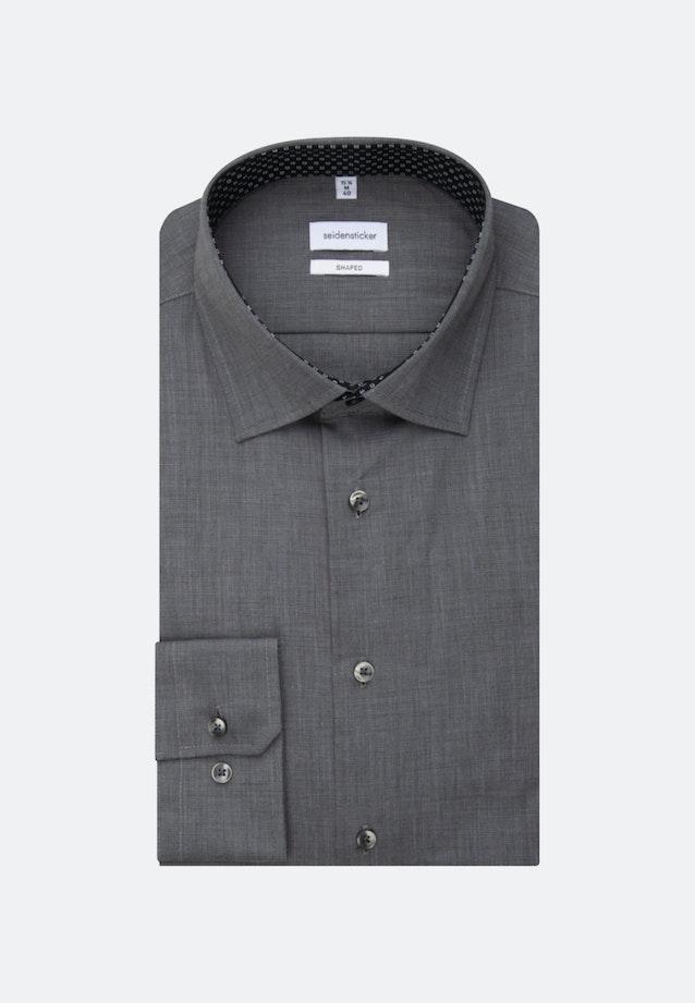 Bügelfreies Fil a fil Business Hemd in Shaped mit Kentkragen und extra langem Arm in Grau |  Seidensticker Onlineshop