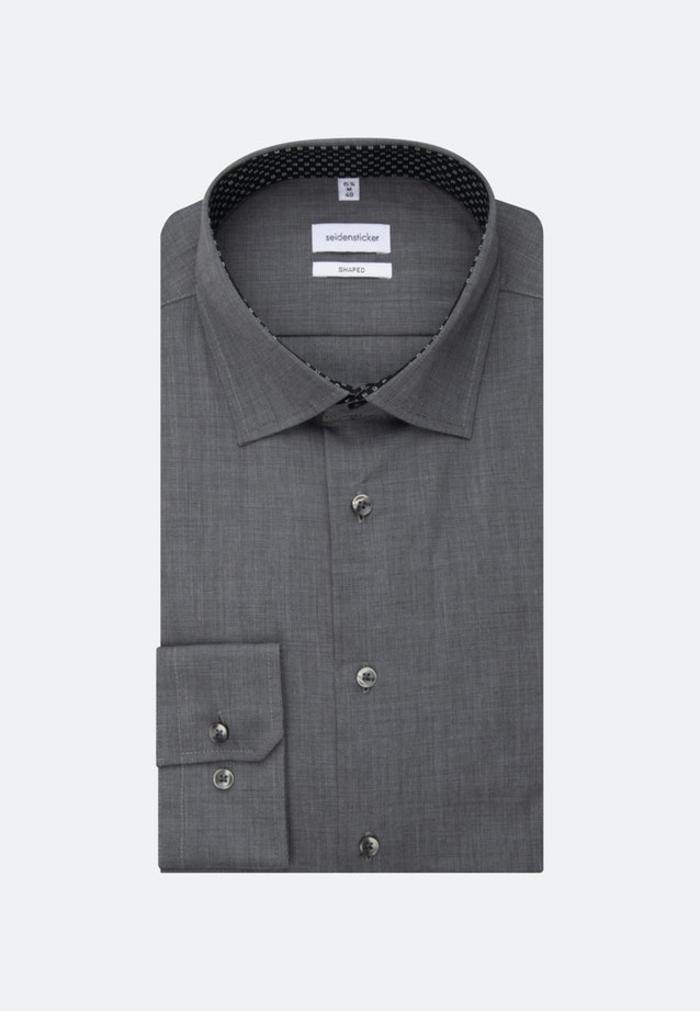 Non-iron Fil a fil Business Shirt in Shaped with Kent-Collar and extra long sleeve in Grey    Seidensticker Onlineshop