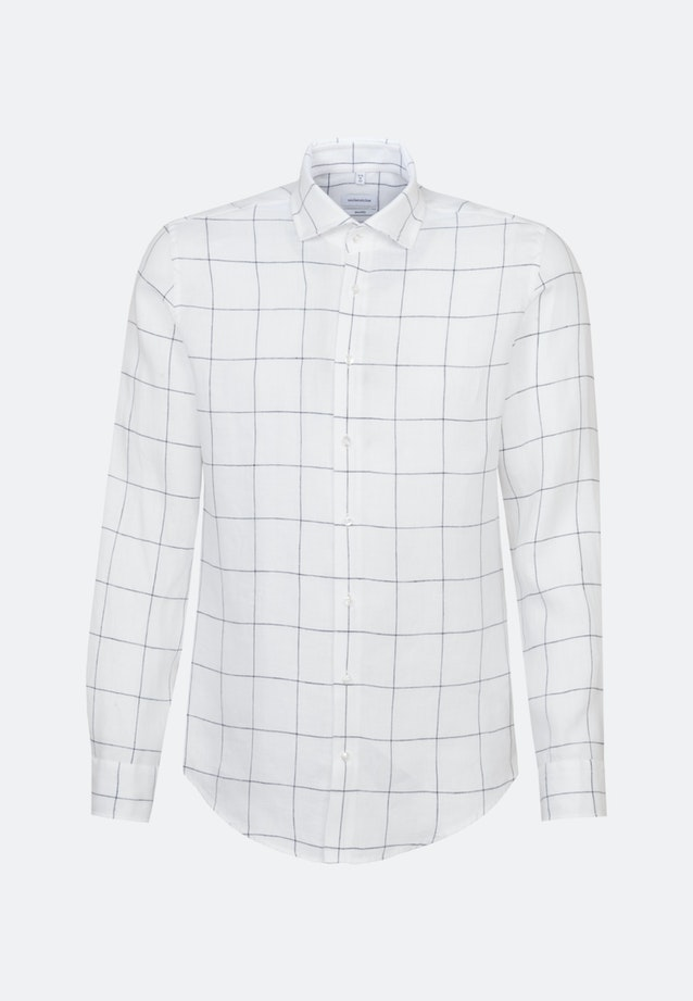 Easy-iron Leinen Business Shirt in Shaped with Kent-Collar in White |  Seidensticker Onlineshop