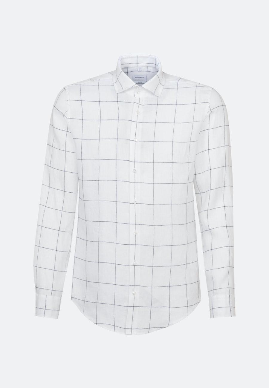 Easy-iron Leinen Business Shirt in Shaped with Kent-Collar in White    Seidensticker Onlineshop