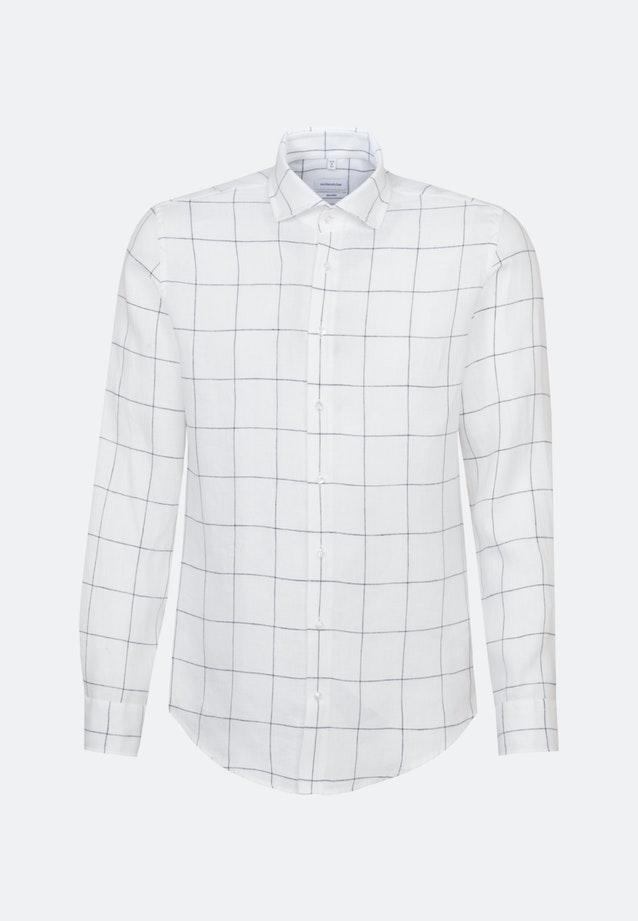 Bügelleichtes Leinen Business Hemd in Shaped mit Kentkragen in Weiß    Seidensticker Onlineshop