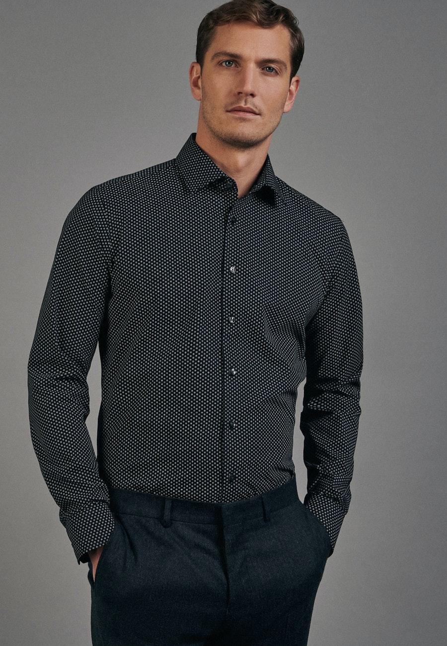 Bügelleichtes Popeline Business Hemd in X-Slim mit Kentkragen in Schwarz |  Seidensticker Onlineshop