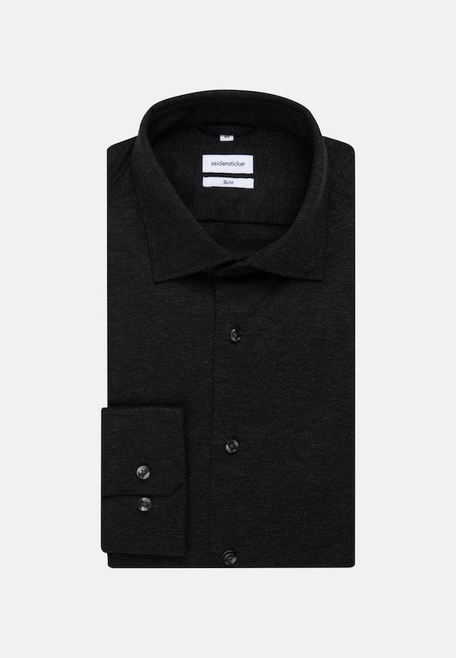 Jersey Business Hemd in Slim mit Kentkragen in Schwarz    Seidensticker Onlineshop