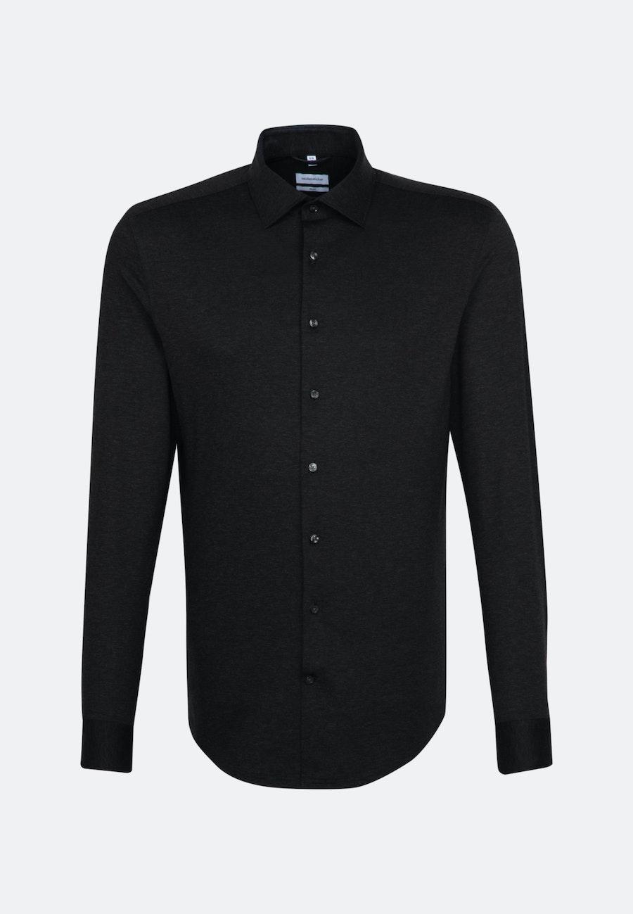 Jersey Business Shirt in Slim with Kent-Collar in Black |  Seidensticker Onlineshop