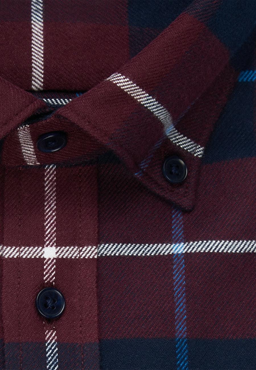 Flanell Business Hemd in Slim mit Button-Down-Kragen in Rot |  Seidensticker Onlineshop