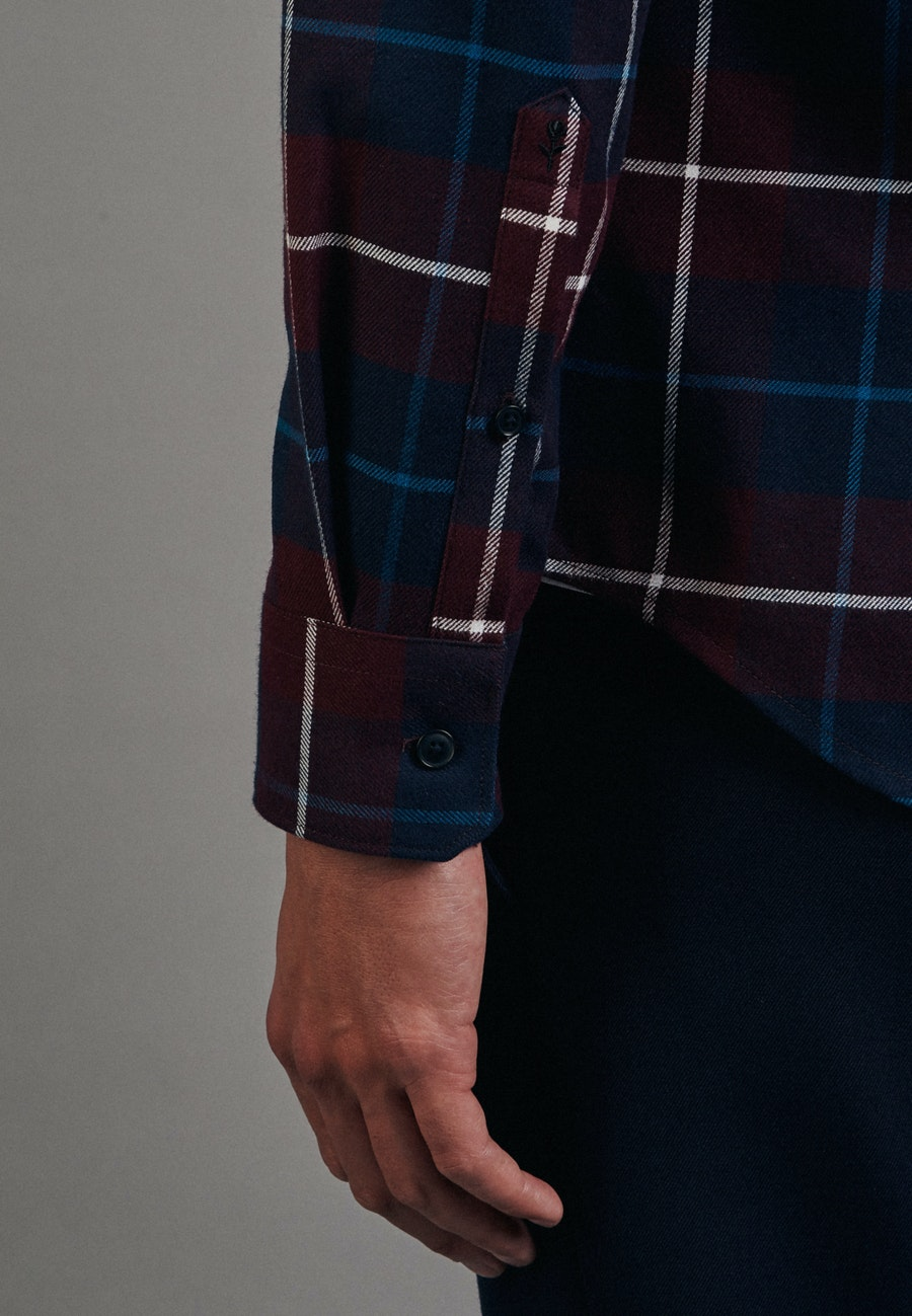 Flanell Business Hemd in Slim mit Button-Down-Kragen in Rot    Seidensticker Onlineshop