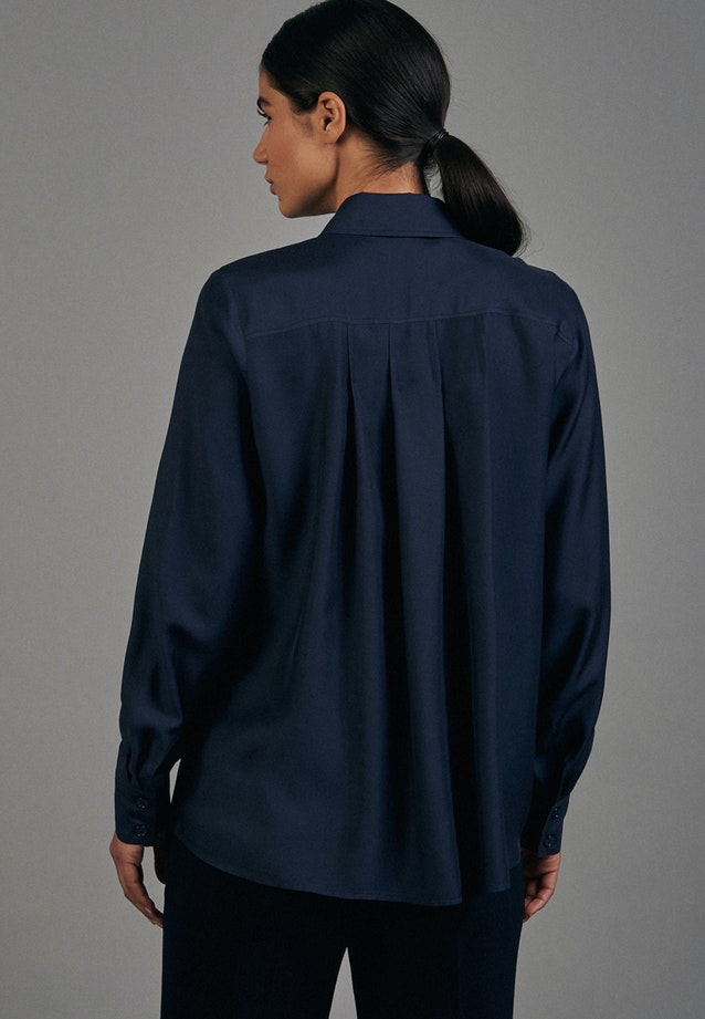 Twill Shirt Blouse made of 100% Viscose in Dark blue |  Seidensticker Onlineshop