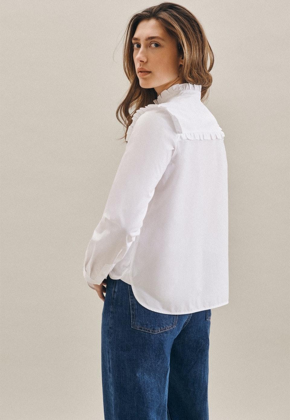 Popeline Stand-Up Blouse made of 100% Cotton in White |  Seidensticker Onlineshop