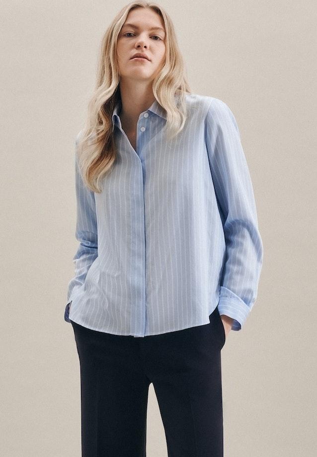 Satin Hemdbluse aus 100% Baumwolle in Hellblau    Seidensticker Onlineshop