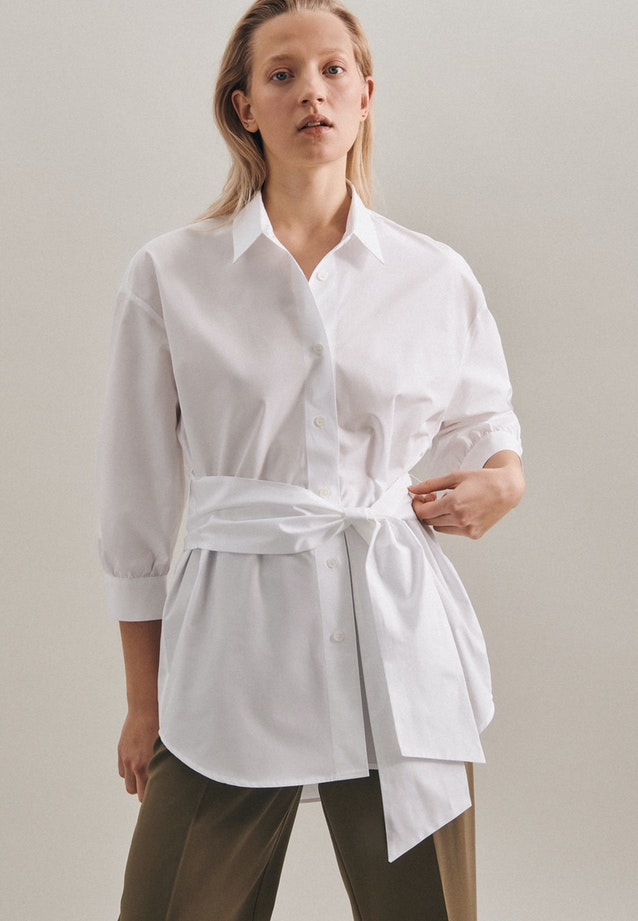 Popeline Shirt Blouse made of 100% Cotton in White |  Seidensticker Onlineshop