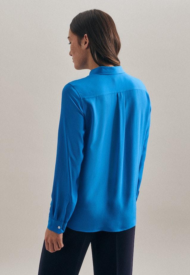 Krepp Hemdbluse aus 100% Viskose in Mittelblau |  Seidensticker Onlineshop