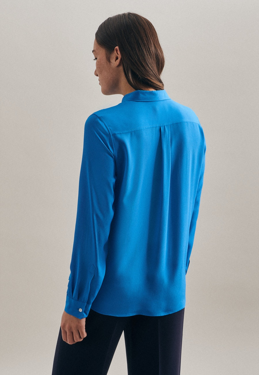 Krepp Shirt Blouse made of 100% Viscose in Medium blue    Seidensticker Onlineshop