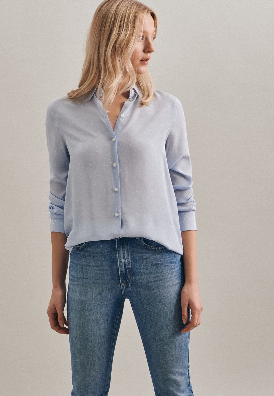 Popeline Shirt Blouse made of 100% Viscose in Light blue |  Seidensticker Onlineshop