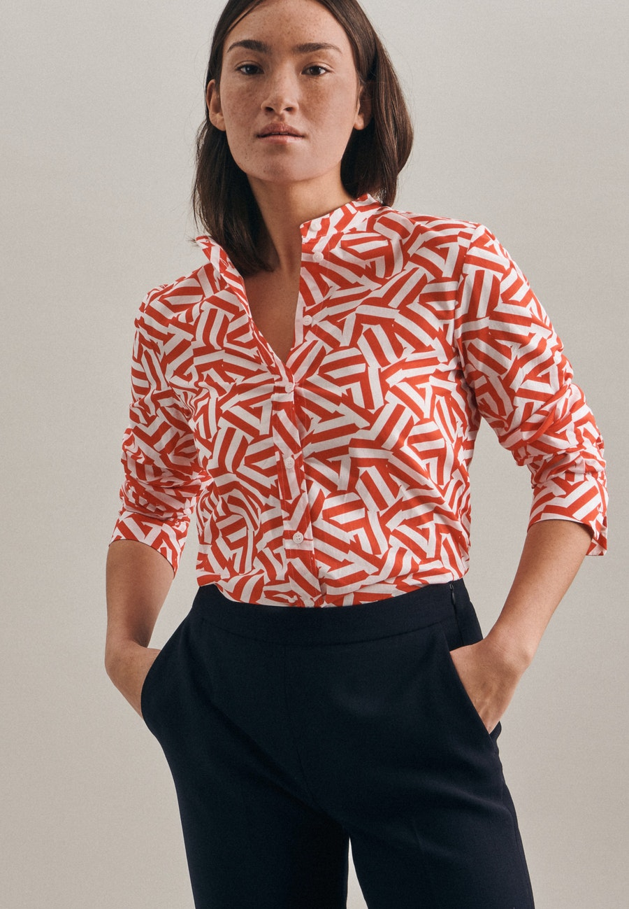 Voile Stand-Up Blouse made of 100% Cotton in Red |  Seidensticker Onlineshop