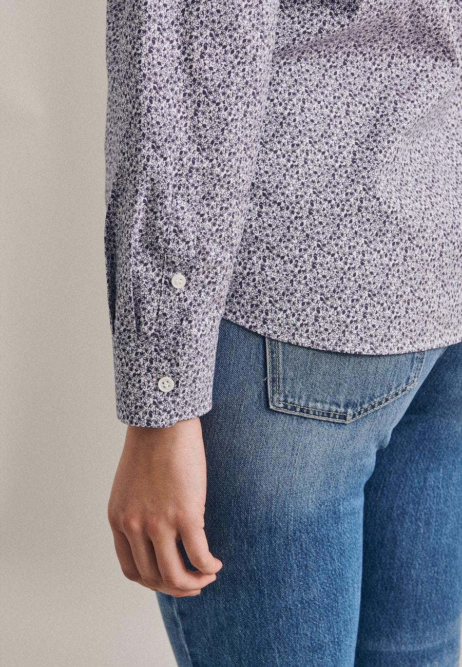 Popeline Stehkragenbluse aus Baumwollmischung in Ecru    Seidensticker Onlineshop