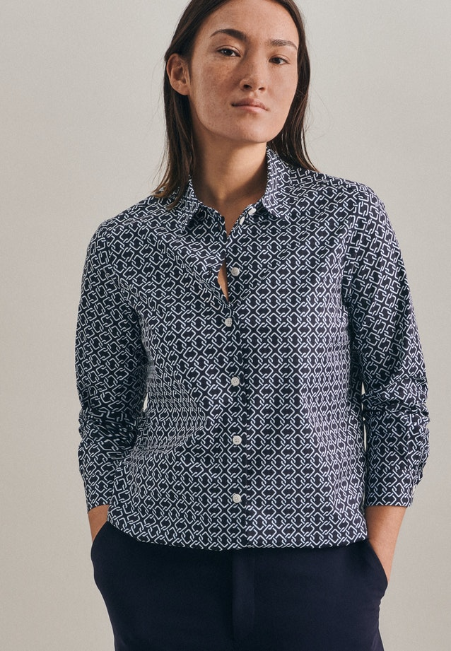 Popeline Shirt Blouse made of cotton blend in Dark blue |  Seidensticker Onlineshop