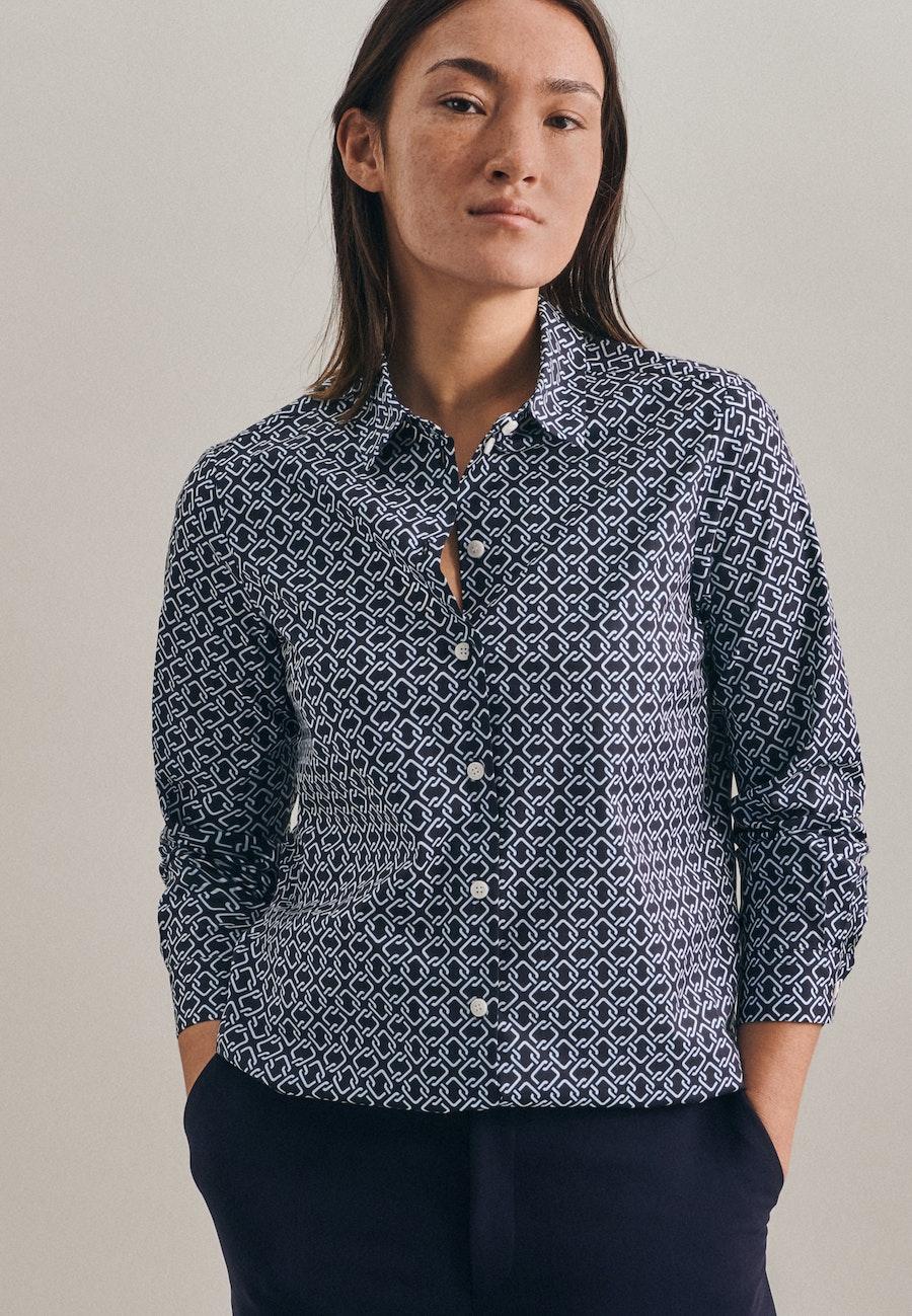 Popeline Shirt Blouse made of cotton blend in Dark blue    Seidensticker Onlineshop