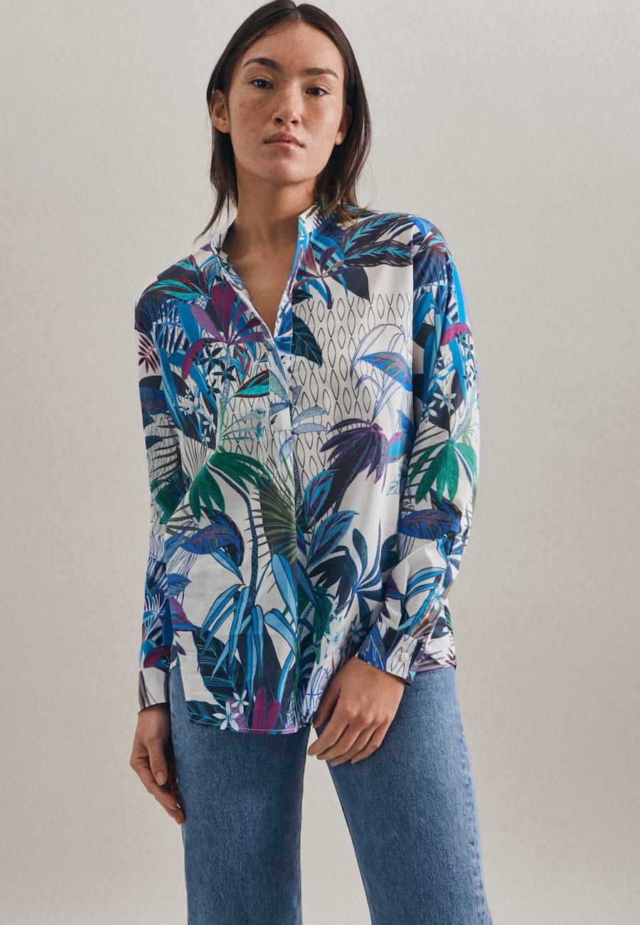 Voile Slip Over Blouse made of 100% Cotton in Dark blue    Seidensticker Onlineshop