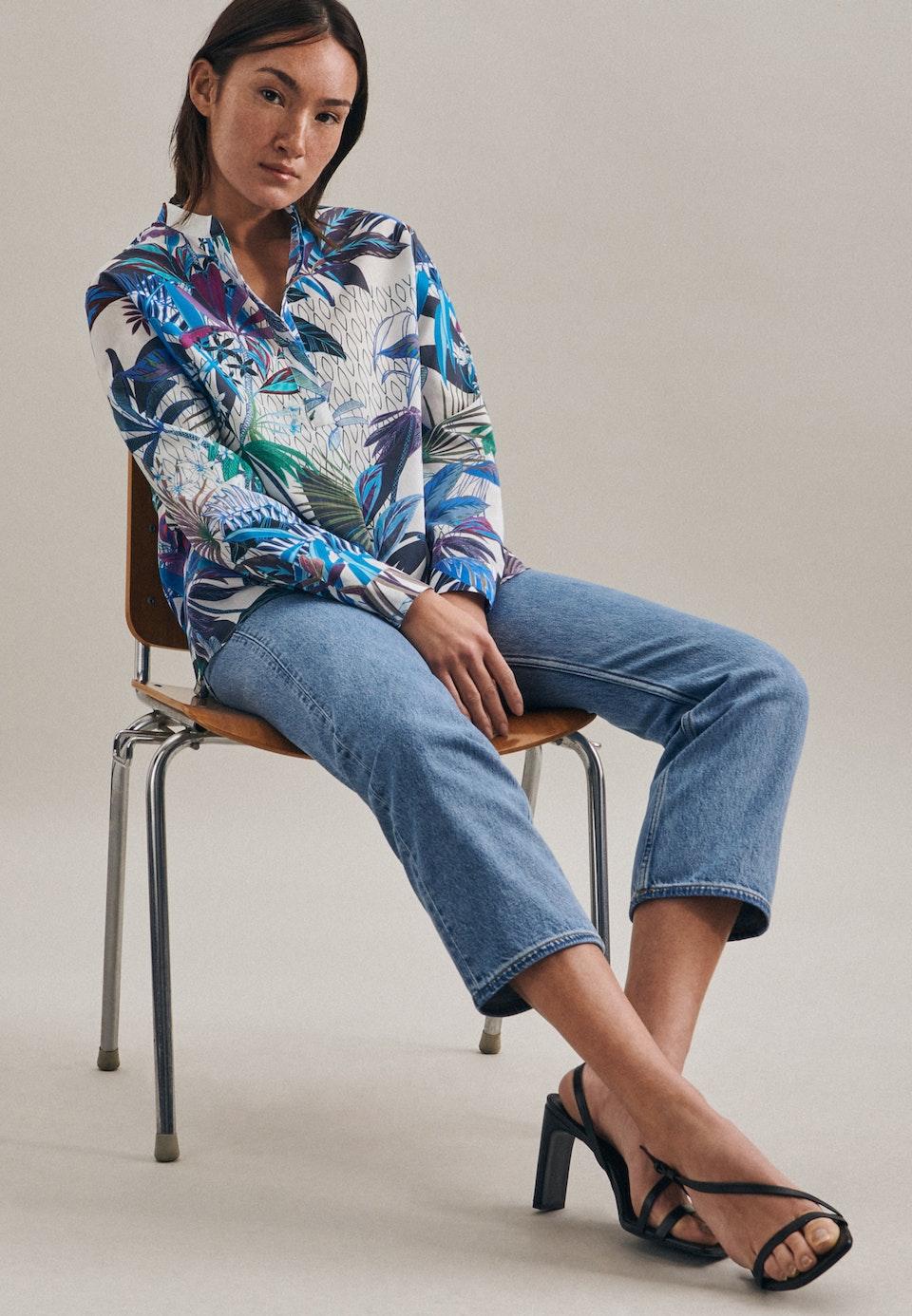 Voile Slip Over Blouse made of 100% Cotton in Dark blue |  Seidensticker Onlineshop