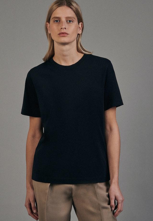 Rundhals T-Shirt aus 100% Baumwolle in Schwarz |  Seidensticker Onlineshop