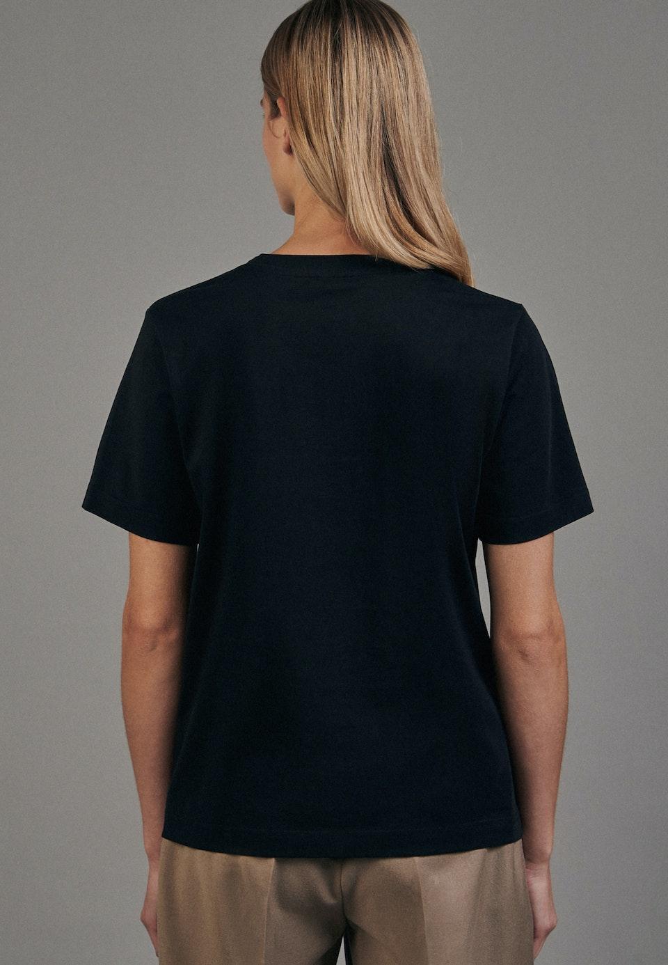 Crew Neck T-Shirt made of 100% Cotton in Black |  Seidensticker Onlineshop