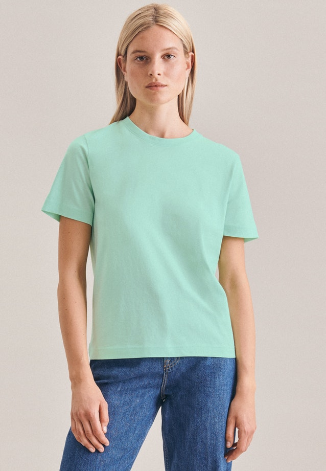 Rundhals T-Shirt aus 100% Baumwolle in Türkis/Petrol |  Seidensticker Onlineshop
