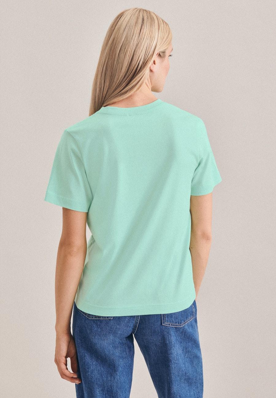 Crew Neck T-Shirt made of 100% Cotton in Turquoise    Seidensticker Onlineshop