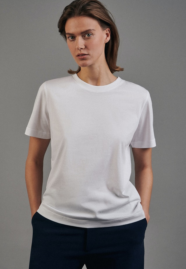 Crew Neck T-Shirt made of 100% Cotton in White |  Seidensticker Onlineshop