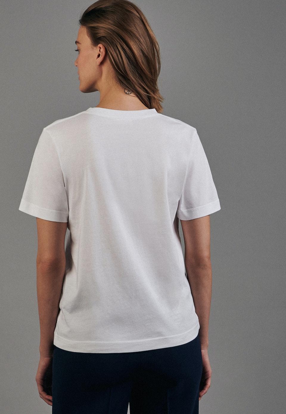 Rundhals T-Shirt aus 100% Baumwolle in Weiß |  Seidensticker Onlineshop