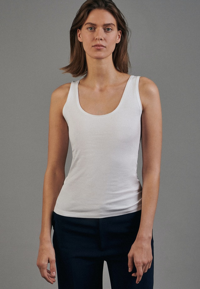 Sleeveless Top made of cotton blend in White |  Seidensticker Onlineshop