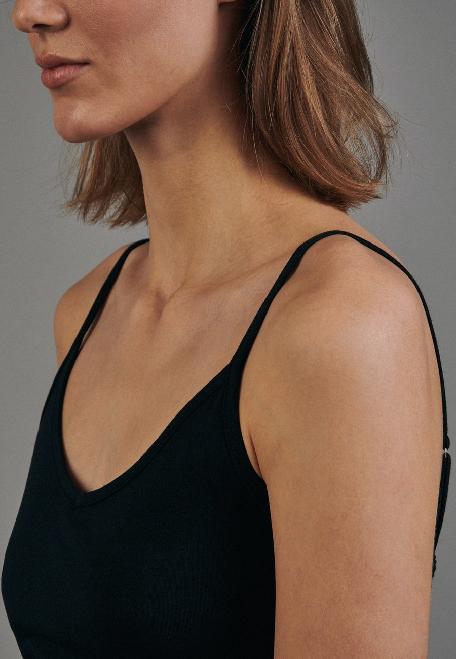 Sleeveless Top made of cotton blend in Black |  Seidensticker Onlineshop