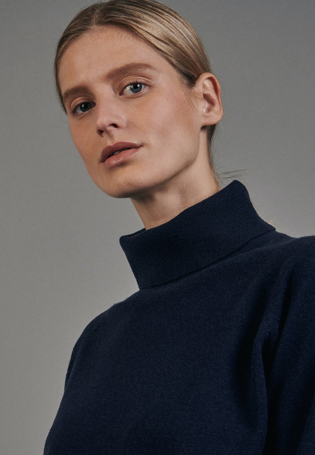 Rollkragen Pullover aus 100% Wolle in Dunkelblau |  Seidensticker Onlineshop