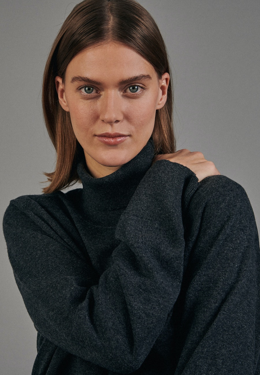 Polo Neck Pullover made of 100% Wool in Grey |  Seidensticker Onlineshop