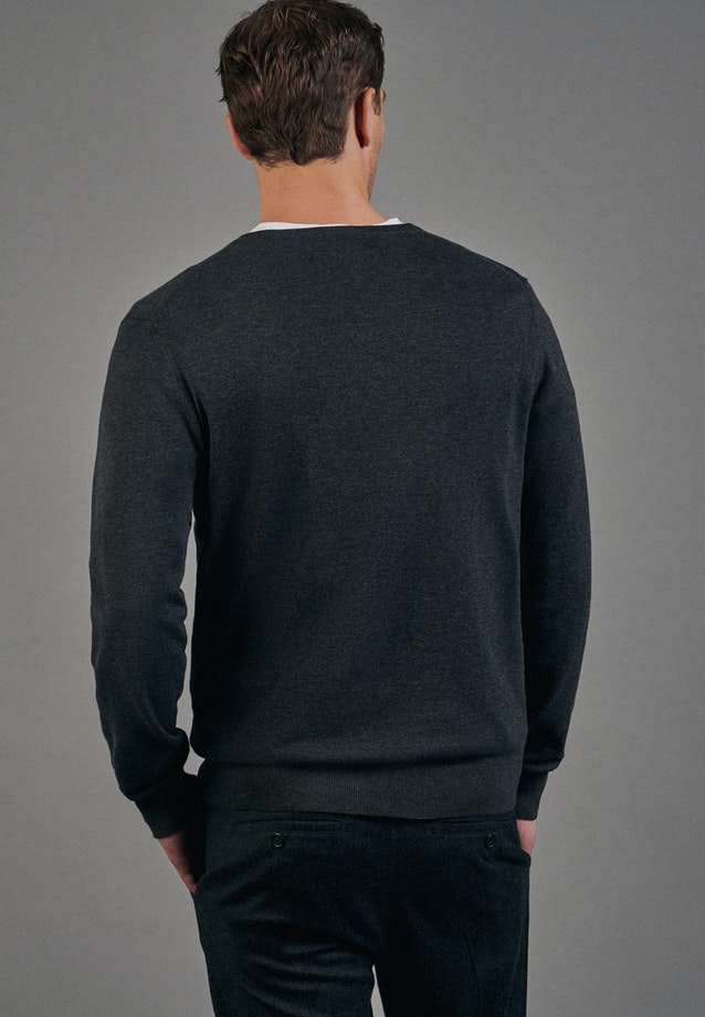 V-Neck Pullover made of 100% Cotton in Grey |  Seidensticker Onlineshop