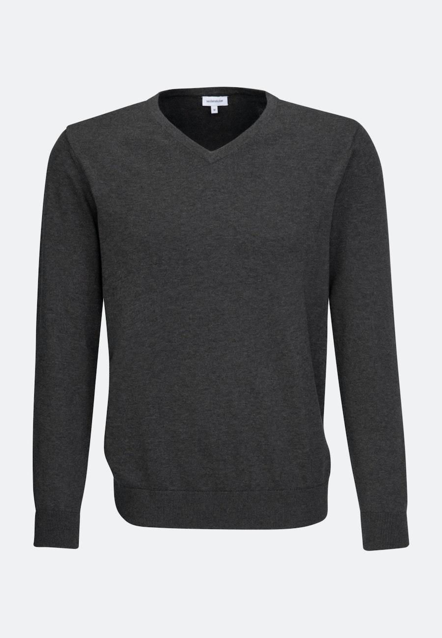 V-Neck Pullover aus 100% Baumwolle in Grau |  Seidensticker Onlineshop