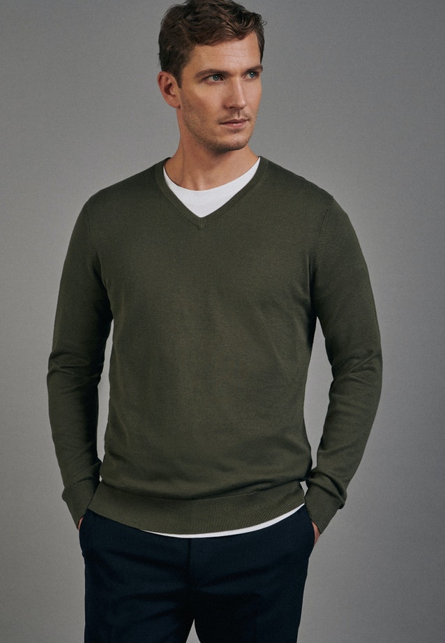 V-Neck Pullover made of 100% Cotton in Green |  Seidensticker Onlineshop