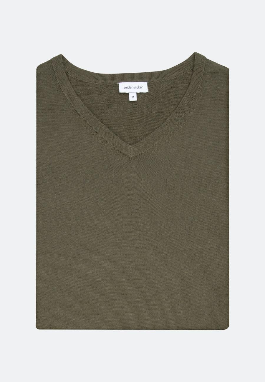 V-Neck Pullover aus 100% Baumwolle in Grün |  Seidensticker Onlineshop