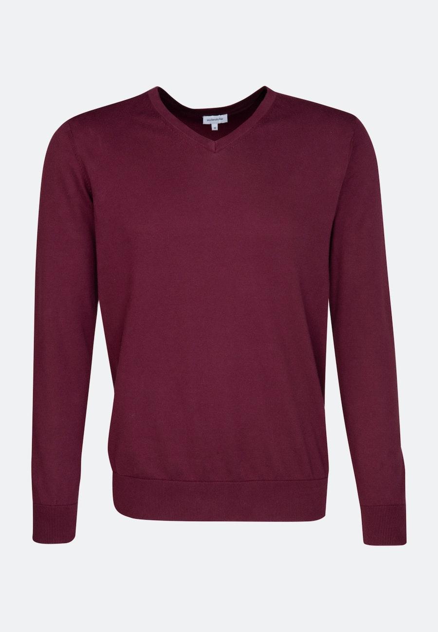 V-Neck Pullover made of 100% Cotton in Red    Seidensticker Onlineshop